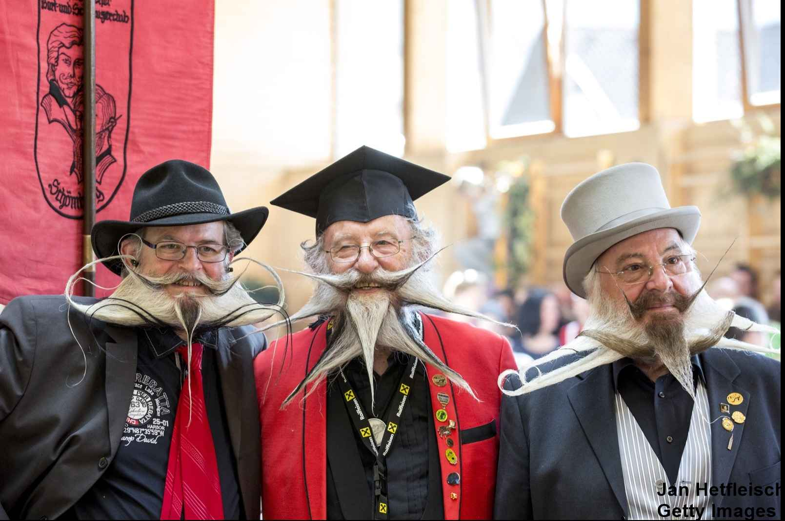 LEOGANG, AUSTRIA - OCTOBER 3: Contestants of the World Beard And Mustache Championships pose for a picture during the Championships 2015 on October 3, 2015 in Leogang, Austria. Over 300 contestants in teams from across the globe have come to compete in sixteen different categories in three groups: mustache, partial beard and full beard. The event takes place every few years at different locations worldwide. (Photo by Jan Hetfleisch/Getty Images)