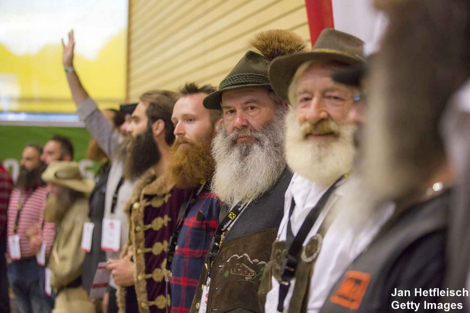 LEOGANG, AUSTRIA - OCTOBER 3: Contestants line up for judging in the 'Mustache Naturale' category at the 2015 World Beard And Mustache Championships on October 3, 2015 in Leogang, Austria. Over 300 contestants in teams from across the globe have come to compete in sixteen different categories in three groups: mustache, partial beard and full beard. The event takes place every few years at different locations worldwide. (Photo by Jan Hetfleisch/Getty Images)