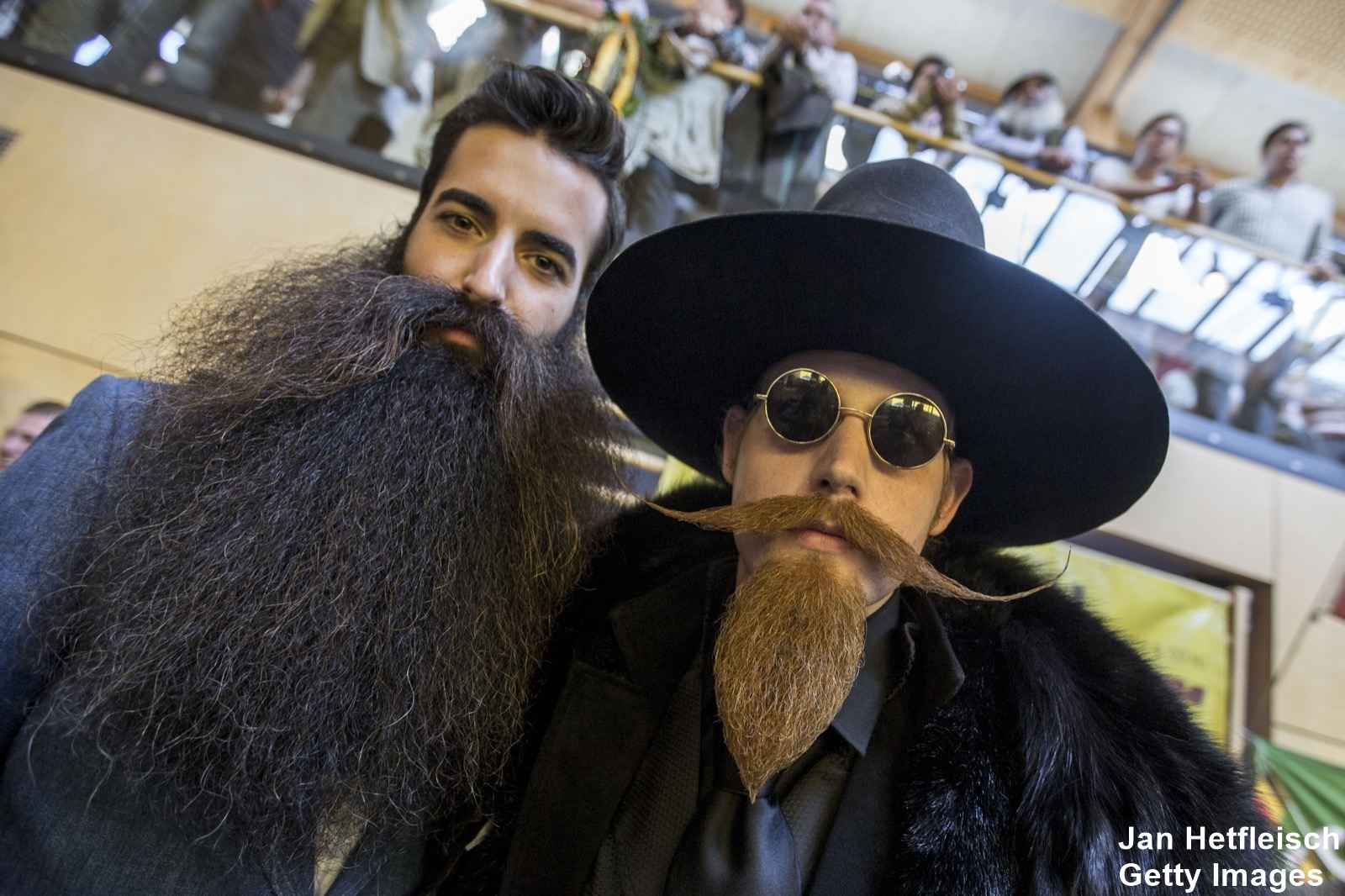 LEOGANG, AUSTRIA - OCTOBER 3: Contestant of the World Beard And Mustache Championships pose for a picture during the Championships 2015 on October 3, 2015 in Leogang, Austria. Over 300 contestants in teams from across the globe have come to compete in sixteen different categories in three groups: mustache, partial beard and full beard. The event takes place every few years at different locations worldwide. (Photo by Jan Hetfleisch/Getty Images)